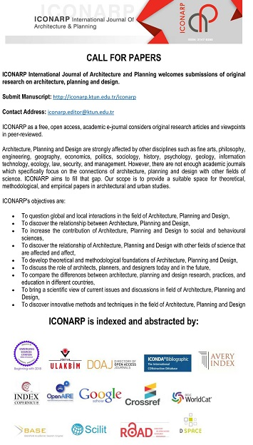 Call for Papers: ICONARP International Journal of Architecture and Planning